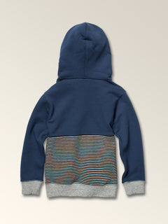 Little Boys Maddock Pullover Hoodie In Snow Vintage Navy, Back View