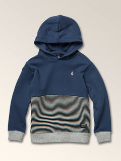 Little Boys Maddock Pullover Hoodie In Snow Vintage Navy, Front View