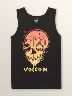 Little Boys Surf Skull Tank In Black, Front View