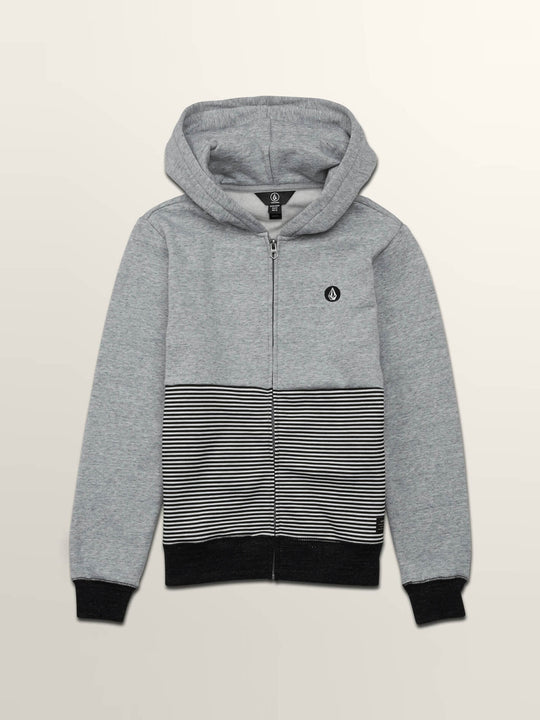 Little Boys Threezy Zip Hoodie In Grey, Front View