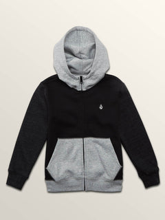 Little Boys Single Stone Colorblock Zip Hoodie In Black, Front View