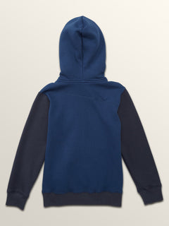 Little Boys Single Stone Colorblock Zip Hoodie In Matured Blue, Back View