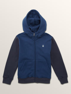 Little Boys Single Stone Colorblock Zip Hoodie In Matured Blue, Front View