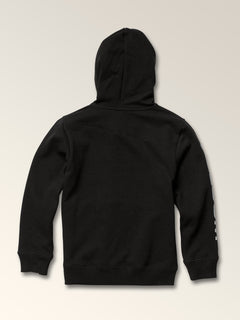Little Boys Stone Zip Hoodie In Black, Back View