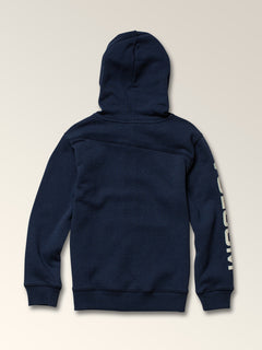 Little Boys Stone Zip Hoodie In Melindigo, Back View