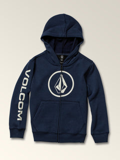 Little Boys Stone Zip Hoodie In Melindigo, Front View
