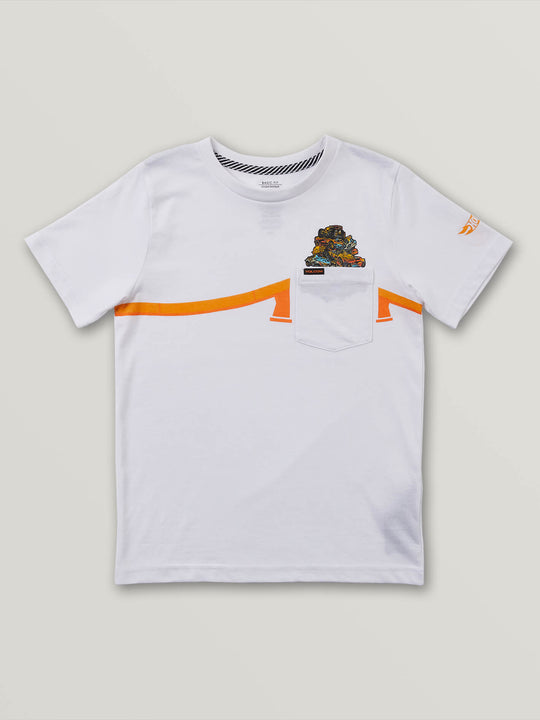 Little Boys Hot Wheels'Ñ¢ Pile Up Short Sleeve Pocket Tee In White, Front View