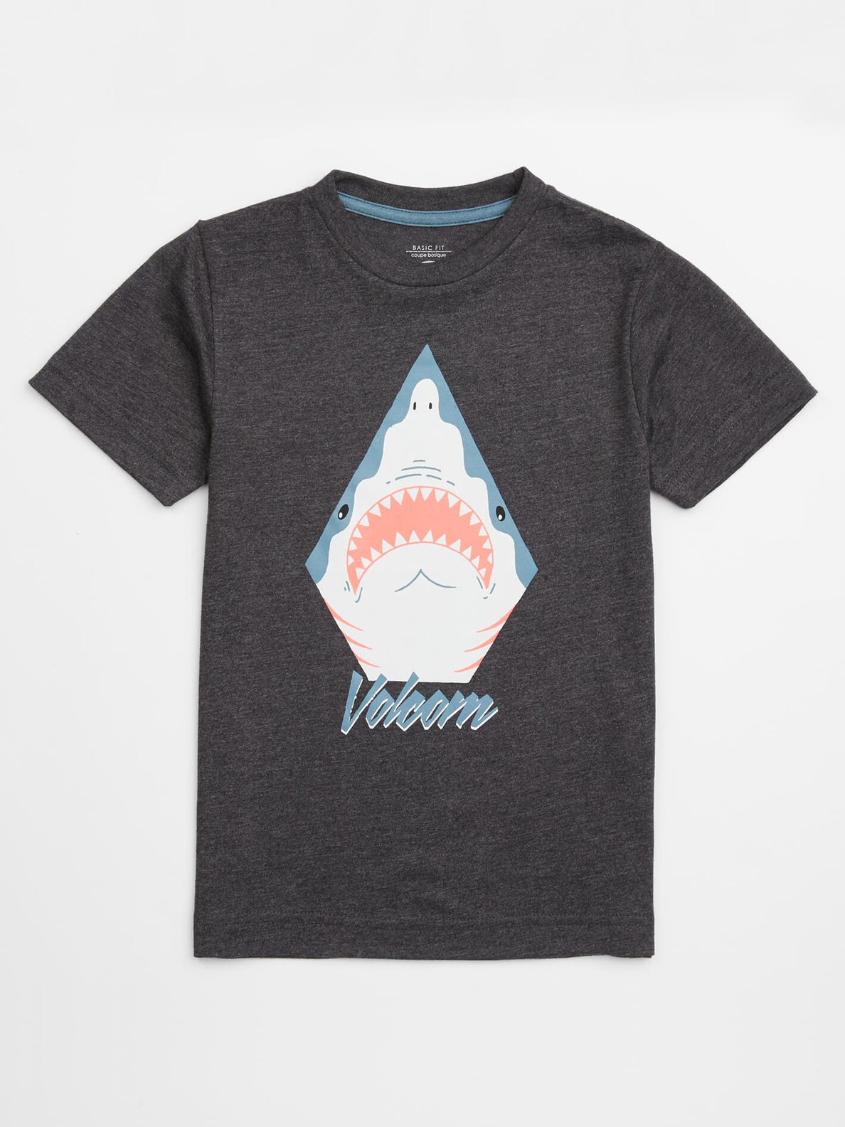 Little Boys Shark Stone Tee In Heather Black, Front View