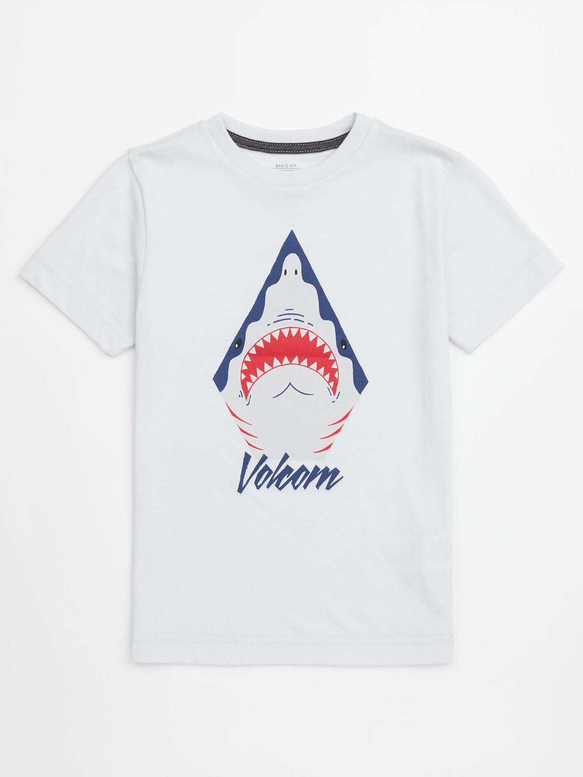 Little Boys Shark Stone Tee In White, Front View