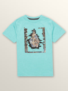 Little Boys Statiq Short Sleeve Tee In Turquoise, Front View