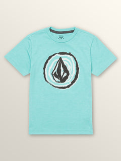 Little Boys In Fill Short Sleeve Tee In Turquoise, Front View