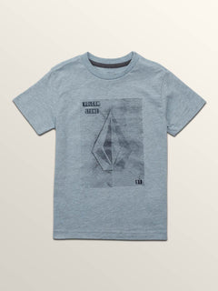 Little Boys Line Tone Short Sleeve Tee In Arctic Blue, Front View