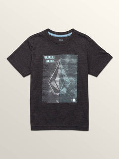 Little Boys Line Tone Short Sleeve Tee In Heather Black, Front View