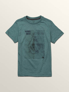 Little Boys Line Tone Short Sleeve Tee In Pine, Front View