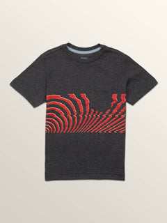 Little Boys Macaw Short Sleeve Pocket Tee In Heather Black, Front View
