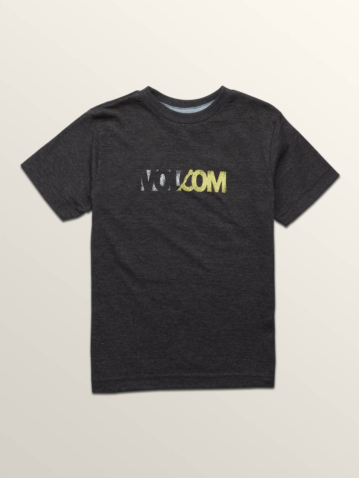 Little Boys Severed Short Sleeve Tee In Heather Black, Front View