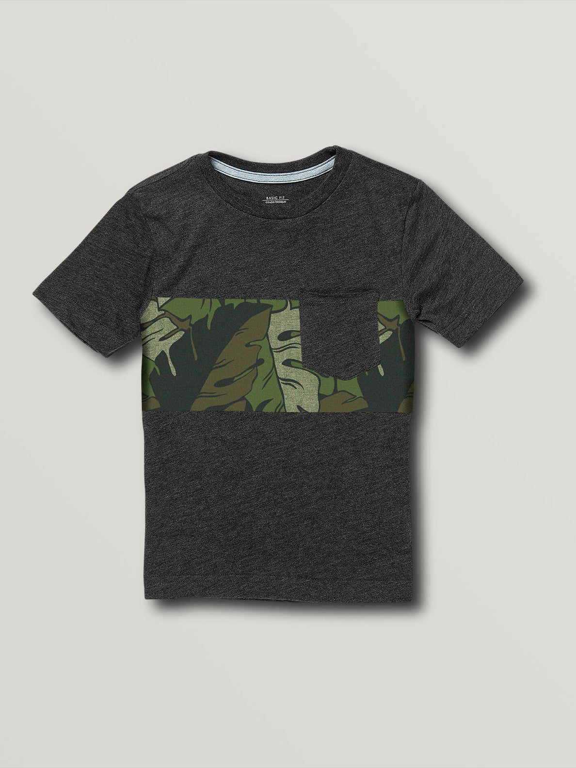 Little Boys Tropical Band Short Sleeve Pocket Tee - Heather Black (Y5741913_HBK) [F]