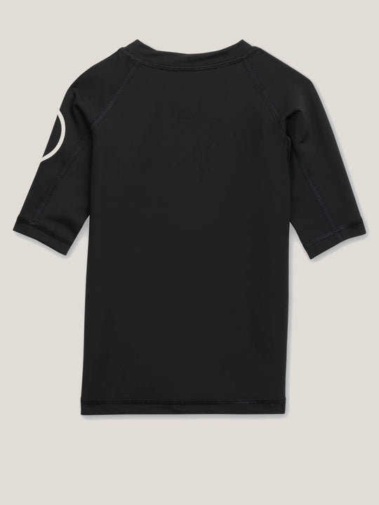 Little Boys Lido Solid Short Sleeve Rashguard In Black, Back View