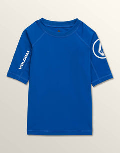 Little Boys Lido Solid Short Sleeve Rashguard In Camper Blue, Front View