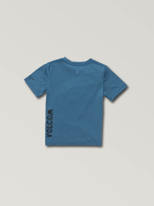 Little Boys Sounder Short Sleeve Rashguard In Snow Royal, Back View