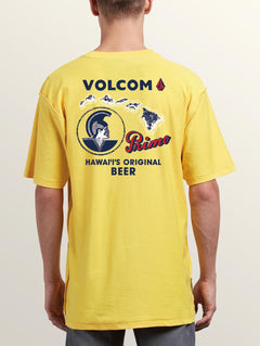 Primo Island Short Sleeve Tee In Cyber Yellow, Back View