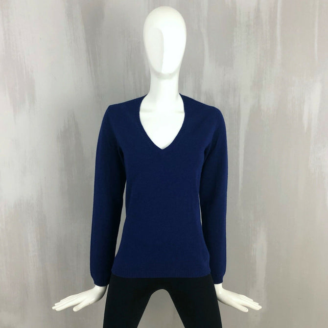 Loro Piana Women Blue CASHMERE Knit V Neck Jumper Sweater Pullover Size 40 S