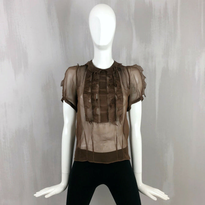 Auth CHLOE Runway Silk Ruffle Sheer Brown Shirt Blouse Top Size FR36 UK6 8 US2 4