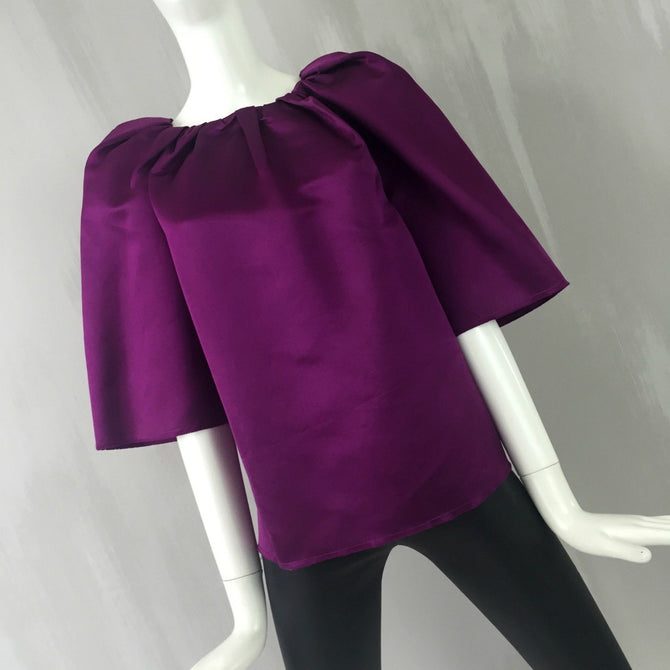 $950 Lanvin Women Brushed Purple Silk Satin Blouse Cocktail Evening Top Size 36