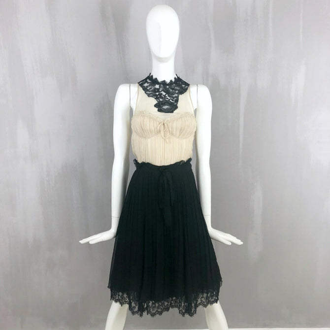 Moschino Women Silk CHIFFON Black White Lace Cocktail Evening Dress Size 38 US 0