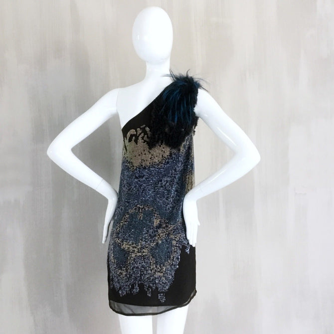 $6500+ Fendi Sequins One Shoulder Mini Silk Evening Cocktail Dress Size XS IT36