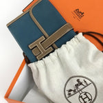 $3500 RARE Hermes MINI Jige Size 20 Prussian Blue Taupe Leather Clutch Bag Purse
