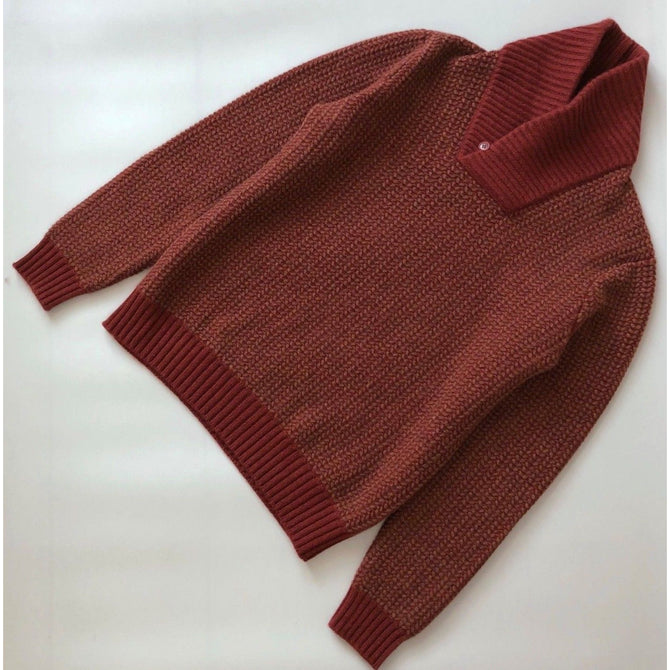 $2895 Loro Piana Men Shawl Collar BABY CASHMERE Chunky Jumper Sweater Pullover L