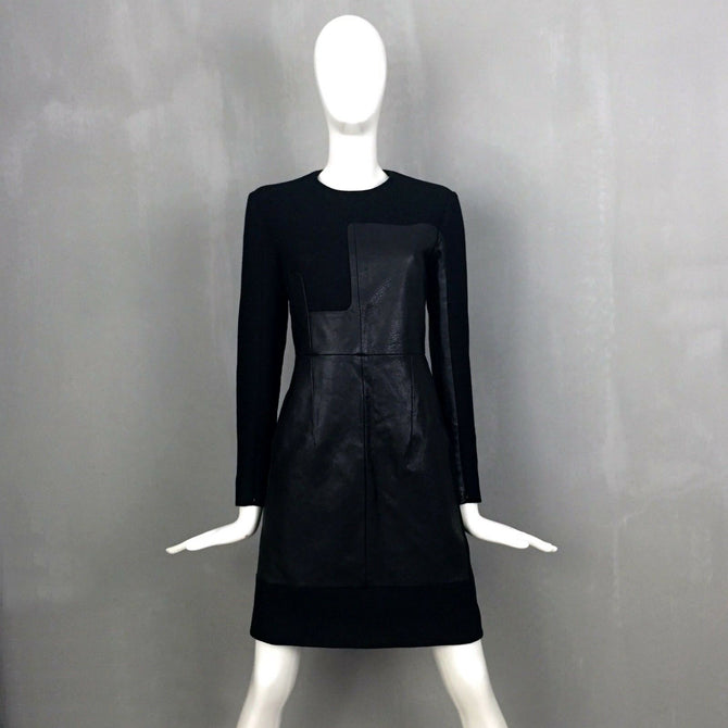 NEW Celine Runway Black LEATHER Panel Wool Short Day Dress Size 38 US4 6 UK 10