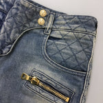 $1350 Balmain Women Washed Blue Skinny Gold Zip Biker Jeans Size 34 XS US 0 2