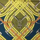 RARE Hermes CASHMERE SILK Teal Yellow Mors et Jouets 140cm XL Shawl Scarf Stole