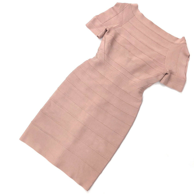 $1450 Herve Leger Pink Bandage Cocktail Evening Bodycon Dress Size XXS UK4