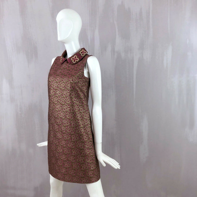 RED Valentino Ladies Gold Sequin Embellished Silk Mini Cocktail Dress Size S US2