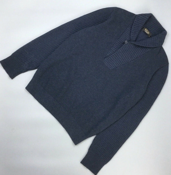 $2200 Loro Piana Men Blue BABY CASHMERE Pullover Sweater Jumper Knit Size 52 XL