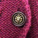 $4K Chanel CC Logo Ladies CASHMERE Knitted Tweed Brooch Cardigan Jacket Size M