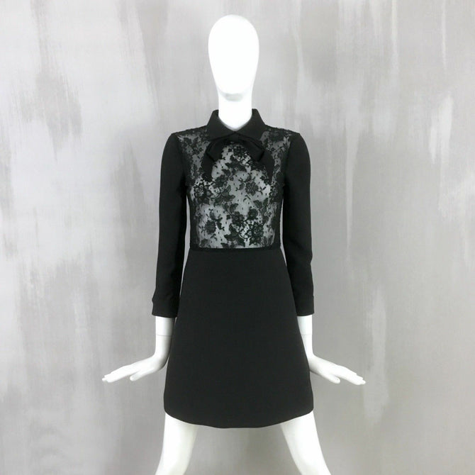 Valentino Black Lace Bow Lace Evening Cocktail Tuxedo Short Dress Size IT38 XS