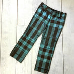 Burberry Prorsum Runway Women Lurex Check Cotton Cropped Trousers Shorts Size S