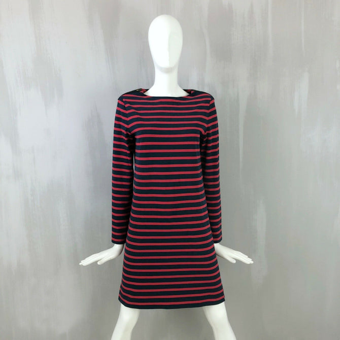 Celine Red Navy Breton Stripy Zipped Short Jumper Sweater Dress Size XS 34 US0 2