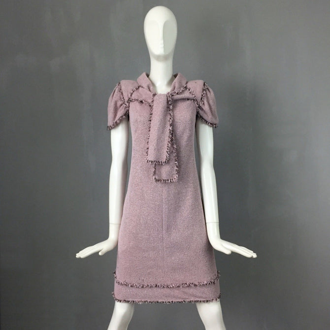 $4000 Chanel Baby Pink Lurex LESAGE TWEED Day Cocktail Dress Size S FR38 US 4 6