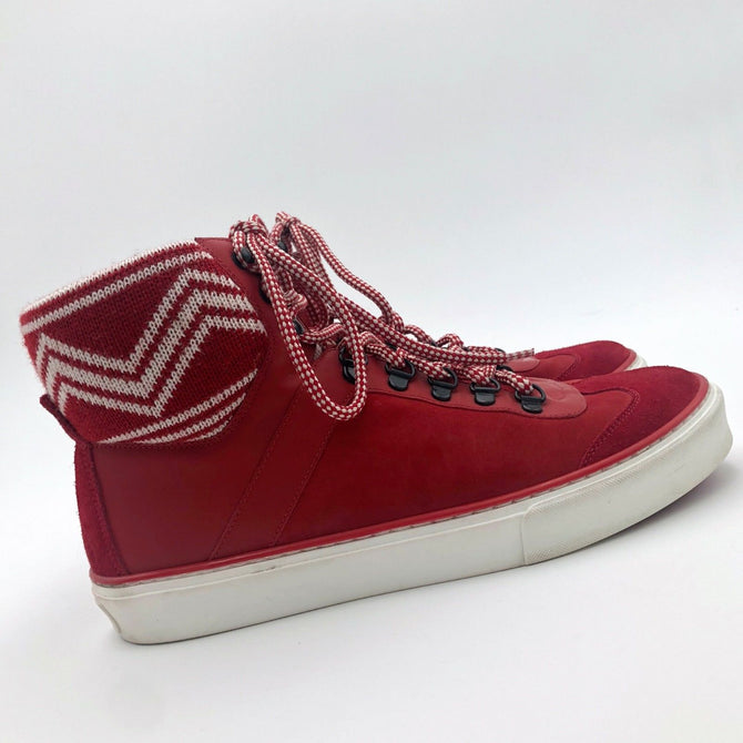 RARE Louis Vuitton Men LV Red Leather Hi Top Trainer Boots Shoes Size 41 UK7 US8