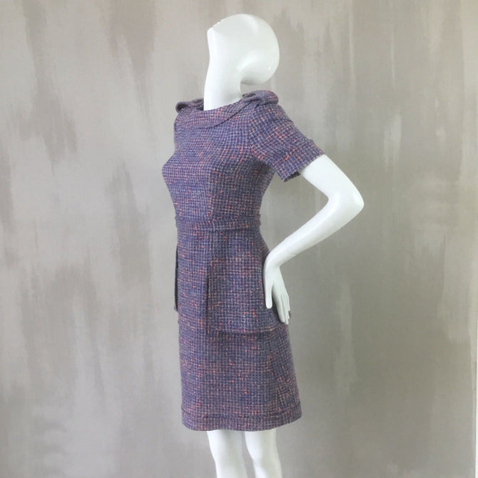 NEW Chanel 2016 Lilac Orange CC Tweed Day Cocktail Belt Dress Size S FR36 US2 4