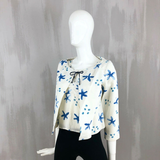 Marin White Blue Floral Summer Cotton Twinset Cardigan Top Size XS IT38 UK 6 8