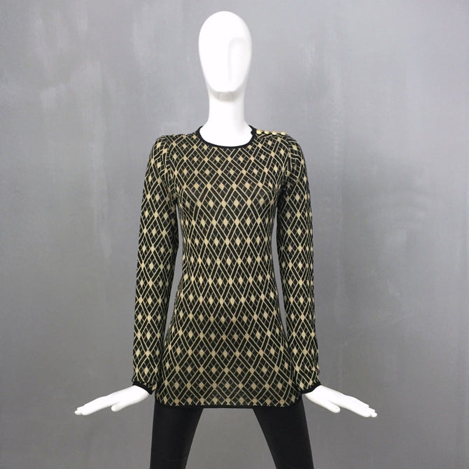 NEW Balmain Ladies Black Gold Button Lurex Wool Jumper Sweater Dress Size FR38