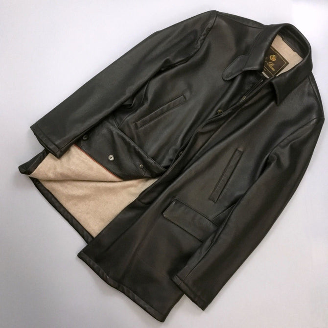 RARE Loro Piana Men DEERSKIN Leather CASHMERE Short Coat Jacket Size L Large 50