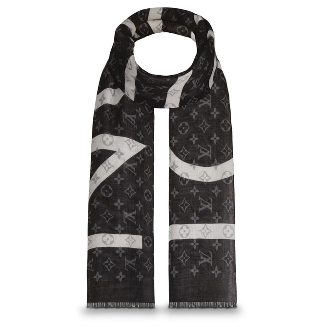 $875 NEW Louis Vuitton Black White Monogram Split CASHMERE SILK Stole Scarf