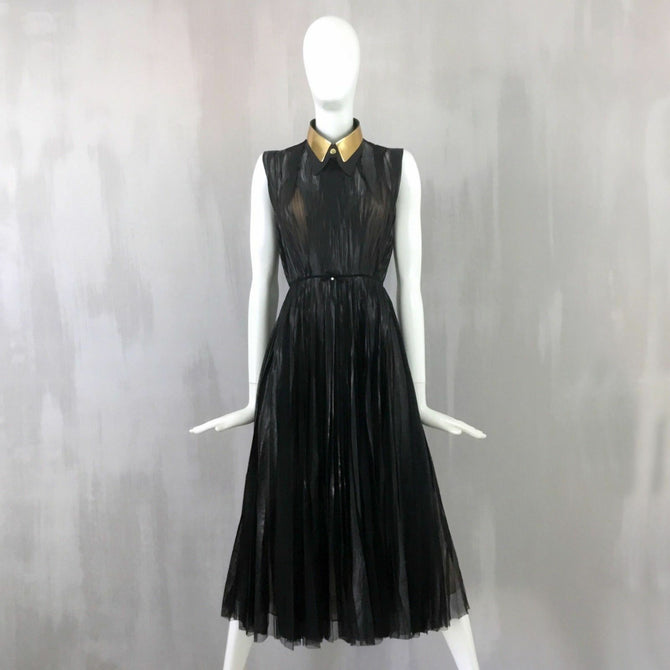 $4600 Gucci Black Nude Sheer Pleated Maxi Long Evening Cocktail Dress Size 40